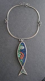 Vtg Hand Made Hammered Sterling Mosaic Fish Neck Ring