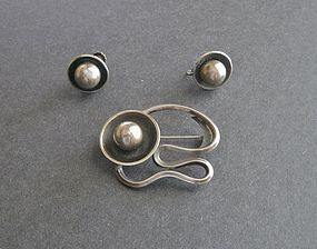 Vtg Modernist Maxwell Chayat Sterling Brooch Earrings