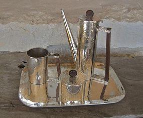 Vtg Modernist Hammered Silver Plate Wood Coffee Set