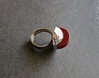 Vintage Norway Modernist Sterling and Stone Ring Signed
