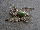Vintage Modernist Brooch Studio Sterling and Stone