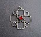 Vintage Arts Crafts Handmade Sterling Pendant Signed