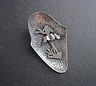 Vintage Hammered Sterling Hula Hawaii Brooch Pendant