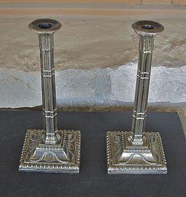 English Silver Plate Tall Corinthian Candlesticks 1845