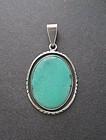 Vtg Charles Albert Sterling Silver Turquoise Pendant