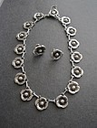 Vtg Arts Crafts Style Floral Necklace Earrings Sterling