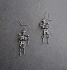 Vintage Skeleton Day of Dead Earrings Silver