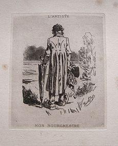 1893 Felicien Rops Hand Signed Etching Belgian Artist