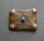 Arts and Crafts Acid Etched Brooch with Blue Stone
