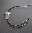 Vintage Navajo Sterling Silver Handmade Bolo Tie Signed