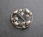 Vintage Arts and Crafts Sterling Pearl Brooch