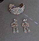 Vintage Taxco Cuff Bracelet and Earrings Matl Style