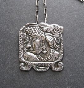 Vintage Huge Repousse Warrior Pendant INAH Sterling