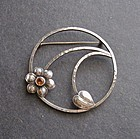 Vintage Arts and Crafts Hammered Sterling Brooch