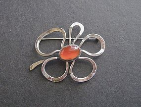 Sterling Hammered Modernist Flower Brooch LCP Vintage