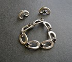 Vintage Taxco Beto Sterling Stone Bracelet Earrings Set