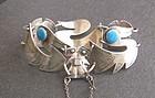 Graziella Laffi Sterling Birds Blue Enamel Bracelet