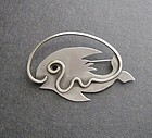 Mid Century Modernist Emily A Day Sterling Fish Brooch