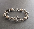 Vintage Heavy Taxco Sterling Ball and Spiral Bracelet