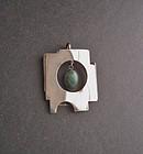 Sterling Modernist Pendant Dangling Agate Hand Made