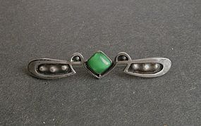 Vintage Arts and Crafts Bar Brooch Sterling Art Glass