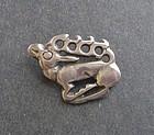 Vintage Modernist Sterling Reindeer Brooch Pendant