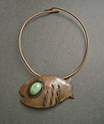 Vintage Modernist Mexico Copper Fish Necklace Buckle