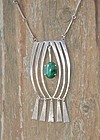 Vintage Hand Made Modernist Sterling Necklace Malachite