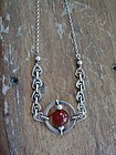 Sterling Red Stone Necklace Pendant Arts Crafts Design