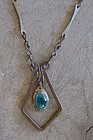 Vintage Copper Glass Hand Made Necklace Pendant