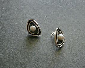 Hawaiian Modernist Merle Boyer Sterling Pearl Earrings