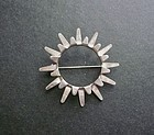 Sterling Modernist Sunburst Brooch Tone Vigeland