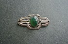 Arts and Crafts Silver Green Scarab Brooch Hand Made