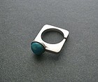 Vtg Modernist Sterling Green Stone Square Ring Signed