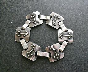 Vintage Sterling Hand Made Organic Link Bracelet