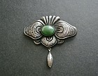 Mexican Matl Design Moth Brooch Sterling Agate