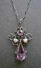 Vintage Arts and Crafts Silver, Pearl Gemstone Pendant Chain