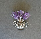 Early Sterling Amethyst Brooch Spratling Design Flowerpot Pre Eagle