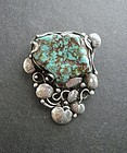 Vintage Sterling Turquoise Pendant Brooch Mary Gage Style Lily Pad
