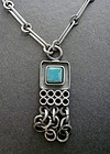 Danish Modernist Lysgard Necklace Pendant Pewter Pottery Stone
