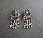 Mexican Dangle Earrings Sterling Amethyst Turquoise Matl Design