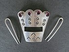 Vintage Sterling Purple Faceted Stone Hair Comb Signed EYF