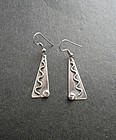 Modernist Studio Artist Paul Miller Sterling Pierced Earrings