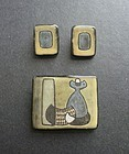 Mid Century Modernist Danish Ceramic Brooch Earrings Fyrbo