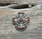 Early Matilde Poulat MATL Cross Brooch Coral  Pearl Amethyst