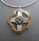 Vintage Studio Hand Made Copper Sterling Geode Cross