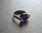 Vintage Modernist Ed Levin Sterling Amethyst Swivel Ring Sz 8