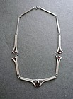 Vintage Sterling Modernist Necklace Purple Cabochons