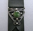 Hammered Sterling Green Cabochon Forest Craft Guild Fob