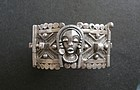 Vintage French Colonial Silver African Masks Bracelet Hallmarks